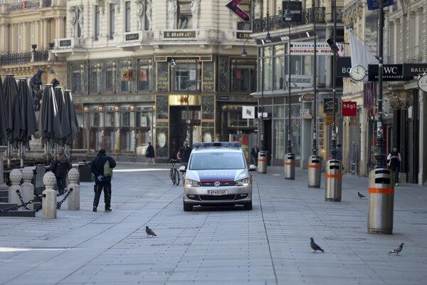 Policajná hliadka v centre Viedne.