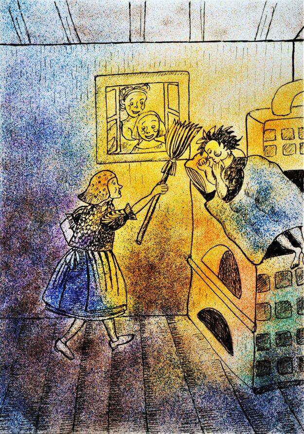 Ukážka ilustrácie z rozprávky O lenivom Janovi.