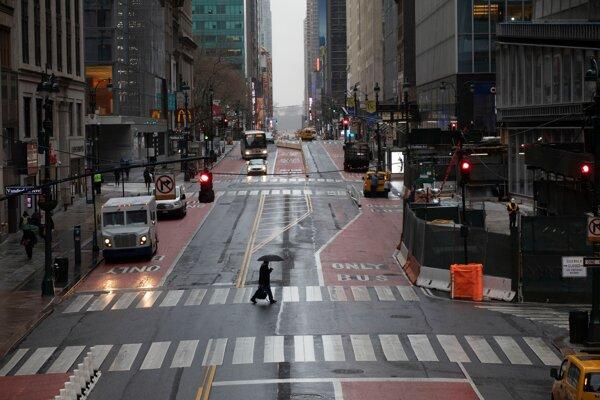 Prázdne ulice New Yorku 23. marca 2020.