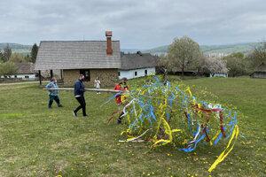 Zamestnanci SNM - Múzea ukrajinskej kultúry  vo Svidníku počas stavania mája vo svidníckom skanzene.