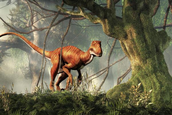 Umelecké zobrazenie jednej z možných podôb dinosaura Deinonychus.
