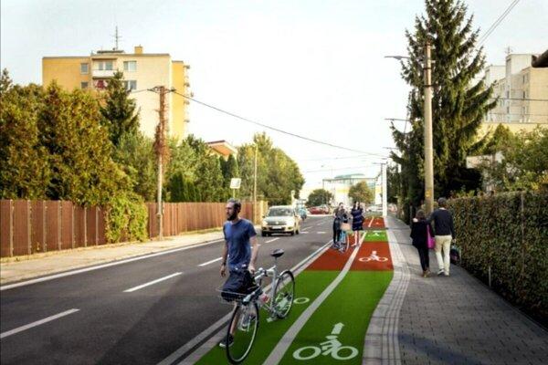 Takto by mal nový cyklochodník na Saleziánskej vyzerať.
