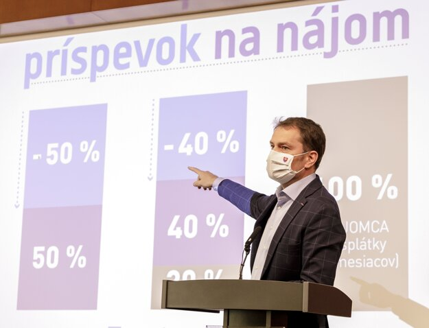Predseda vlády SR Igor Matovič počas tlačovej konferencie po 21. zasadnutí vlády.