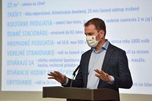 Premiér Igor Matovič na tlačovej konferencii.