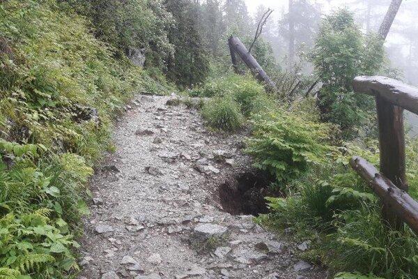 Poškodený chodník za Bilíkovou chatou.