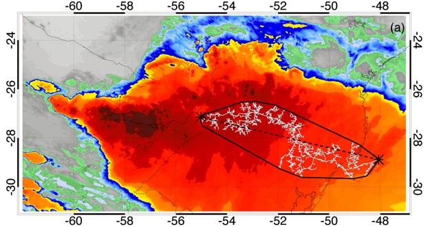 Družicový záber rekordne dlhého blesku nad južnou Brazíliou z 31. októbra 2018. Meral 709 kilometrov.