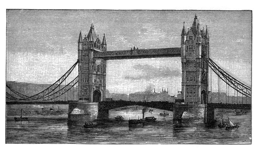 Kresba z roku 1908. Tower Bridge sa staval podľa plánov architekta Horace Jonese a Johna W. Barryho.