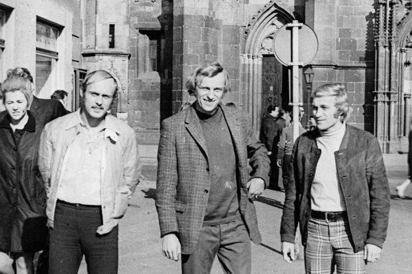 """Tri slávne """"P"""" z Košíc (zľava) Jaroslav Pollák, Jozef Plachý a Ján Pivarník v roku 1971."""
