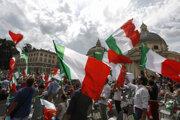 Protest pravicovej opozície v Ríme.