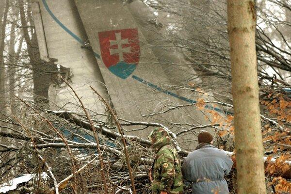Trosky havarovaného vojenského lietadla AN-24 pri obci Hejce.