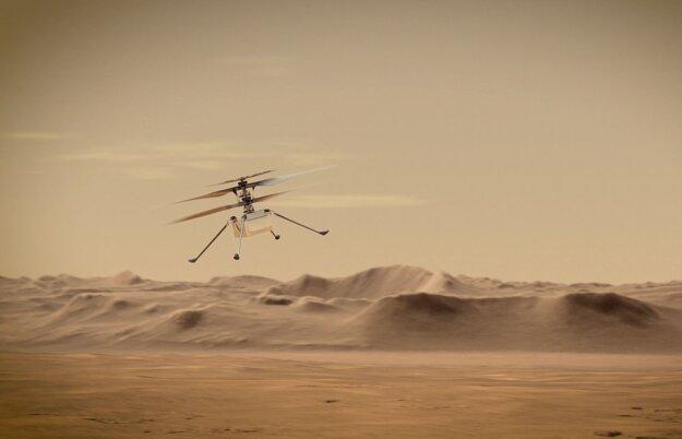 Umelecká predstava o lete experimentálnej helikoptéry Perseverance na Marse.