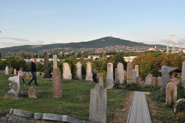 Židovský cintorín v Nitre s výhľadom na Zobor.