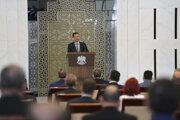 Sýrsky prezident Bašár Asad hovorí na zasadnutí novozvoleného parlamentu.