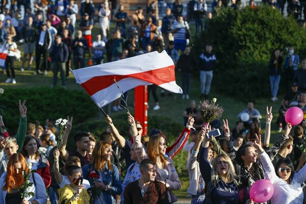 Demonštranti v Minsku.