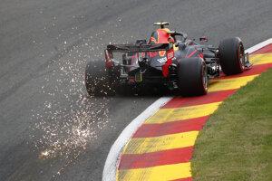 Max Verstappen na Red Bulle počas tréningu na VC Belgicka.