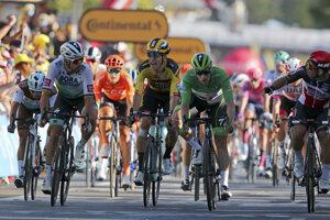 Zľava Peter Sagan, Wout van Aert, Sam Bennett a Caleb Ewan na Tour de France 2020.
