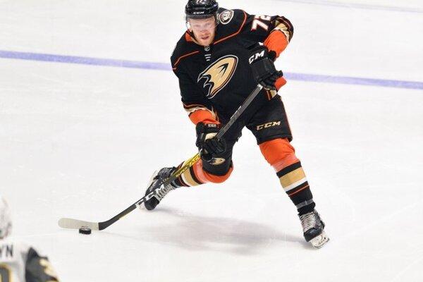 Hunter Drew v drese Anaheimu Ducks.