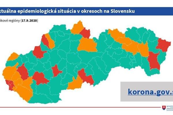 Mapa rizikových regiónov.