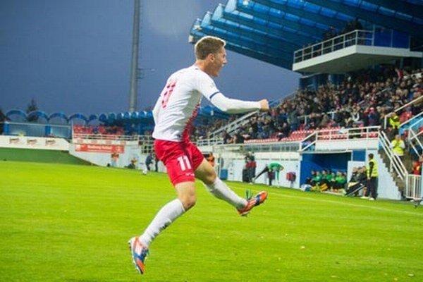 Michal Pintér (na archívnej snímke P. Levického) sa v sobotu tešil z prvého gólu v sezóne.