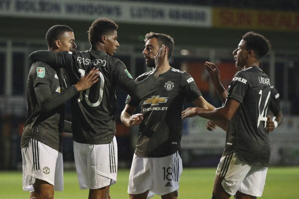 Radosť hráčov Manchestru United.