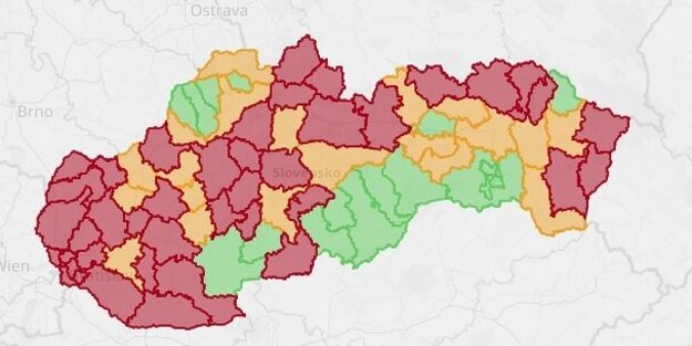 Semafor okresov platný od 2.10.2020.