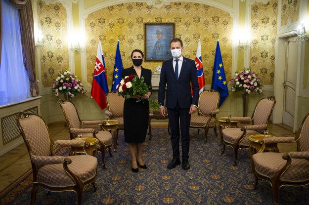 Bieloruská opozičná líderka Svetlana Cichanovská a vpravo predseda vlády Igor Matovič.