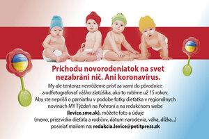 Už čoskoro uverejníme októbrovú fotogalériu novorodencov. Poslať môžete bäbatká narodené v októbri: redakcia.levice@petitpress.sk