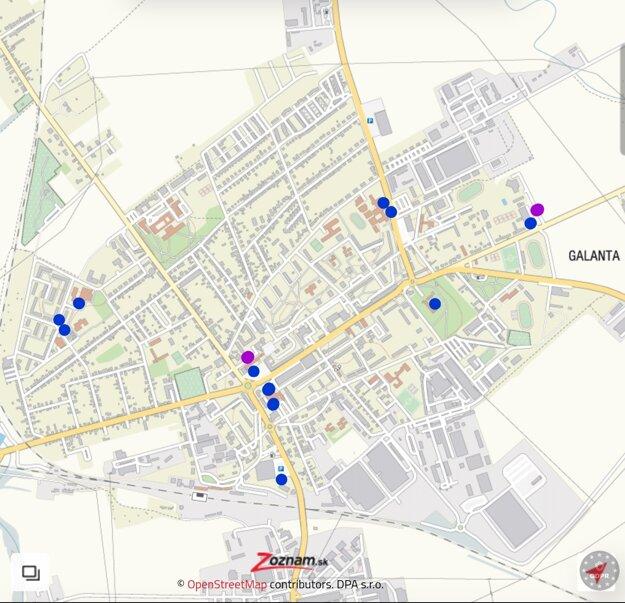 Mapa odberných miest v Galante. Fialovou sú vyznačené drive-in miesta.