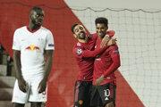 Marcus Rashford (celkom vpravo) v zápase Manchester United - Lipsko.