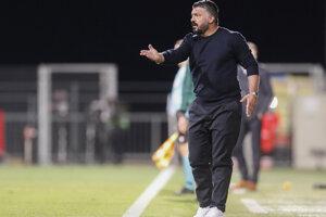 Tréner Neapolu Gennaro Gattuso v zápase na pôde HNK Rijeka.