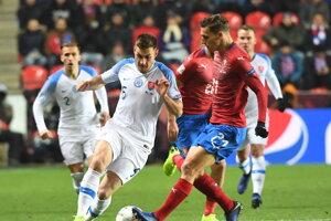David Pavelka (vpravo) a Matúš Bero v zápase Česko - Slovensko.