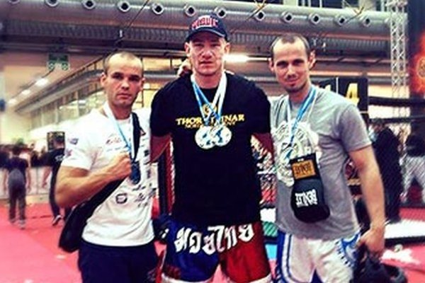 Zlatí medailisti zo Slovenska - zľava Pavol Garaj, Maťo Pačas (dvakrát zlatý) a Tomáš Gut.