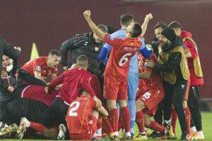 Obrovská radosť futbalistov Severného Macedónska po postupe na EURO 2020.
