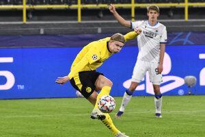 Erling Haaland strieľa gól v zápase Borussia Dortmund - Club Bruggy.