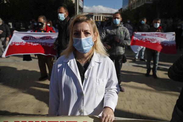 Štrajk zamestnancov verejnej správy v Grécku.