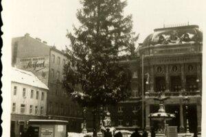 Vianočný strom pred Národným divadlom v Bratislave.
