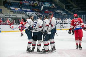 Radosť hráčov HC Slovan Bratislava.