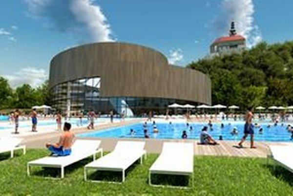 Takto by mal vyzerať akvapark v areáli dnešného kúpaliska v parku. Autormi štúdie sú architekti Martin Paulíny a Branislav Hovorka.