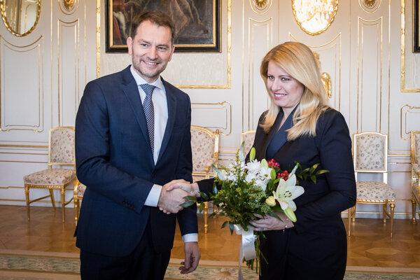 Predseda OĽaNO Matovič sa po voľbách stretol sprezidentkou Zuzanou Čaputovou. (2.3.2020)
