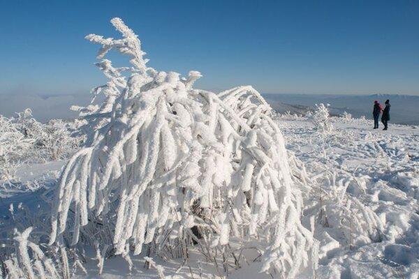 Zimná atmosféra na najvyššom vrchu pohoria Biele Karpaty, Veľkej Javorine.