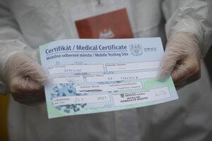 Certifikát vydaný na najväčšom testovacom mieste COVID-19 v Bratislave