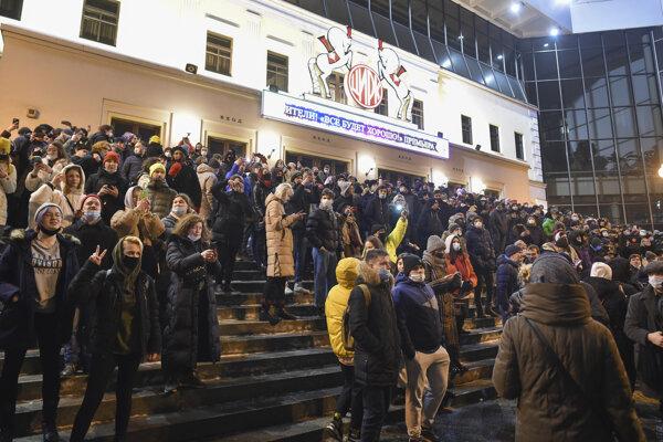 Protest v Moskve za oslobodenie Navaľného.