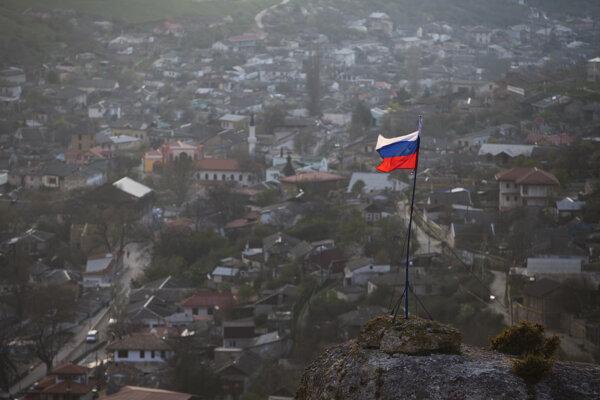 Ruská vlajka v Bachčisarai.