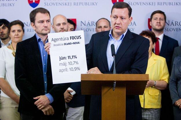 Daniel Lipšic a Igor Matovič na TB k spoločnej kandidátke pre parlamentné voľby 2016, jún 2015.