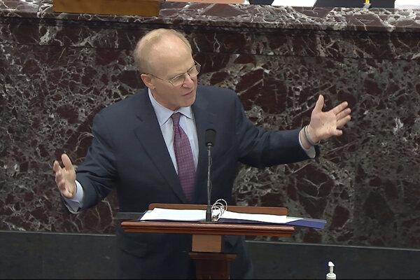 Trumpov právny zastupca David Schoen počas vystúpenia v Senáte Kongresu USA.