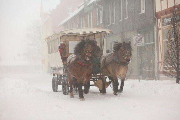Konský voz v nemeckom meste Wernigerode.