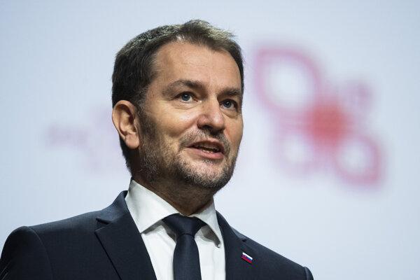 Povenský predseda vlády Igor Matovič počas tlačovej konferencie po plenárnom zasadnutí predsedov vlád Vyšehradskej skupiny.