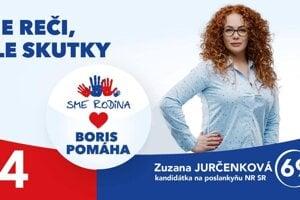 Zuzana Jurčenková ako kandidátka Sme rodina.