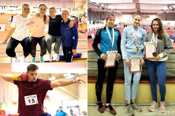 Vľavo hore zlatá štafeta ŠK ŠOG na 4x200 m, pod ňou vrhač Samuel Kováč (AC Stavbár). Na snímke vpravo - žŕdkárky zľava Zuzana Seková a Diana Záborská (AC Stavbár).