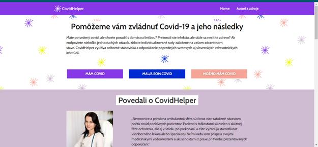 Web Covidhelper. (po kliknutí na obrázok vás presmeruje na stránku.)